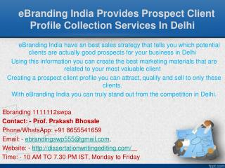 Prospect Client Profile Collection Services In Delhi