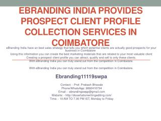 eBranding India Provides Prospect Client Profile Collection Services In Coimbatore