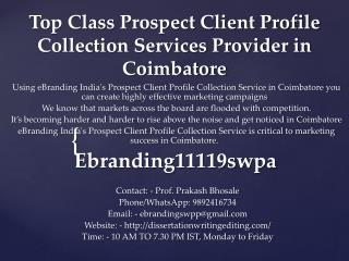 Top Class Prospect Client Profile Collection Services Provider in Coimbatore