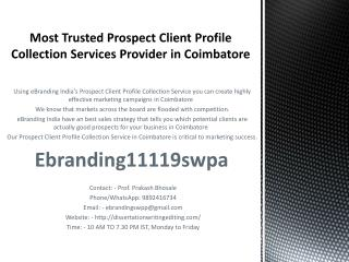 Most Trusted Prospect Client Profile Collection Services Provider in Coimbatore