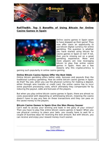 RollTheBit: Top 5 Benefits of Using Bitcoin for Online Casino Games in Spain
