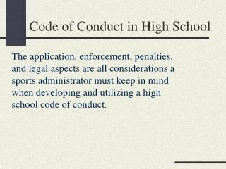 Code of Conduct in High School