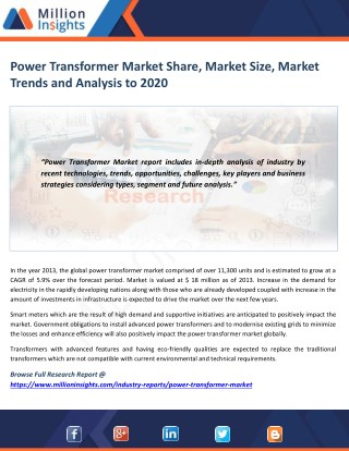 Power Transformer Market Segmentation, Opportunities, Trends & Future Scope to 2020