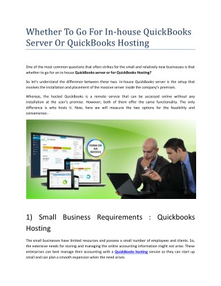 Small Business Requirements Quickbooks Hosting