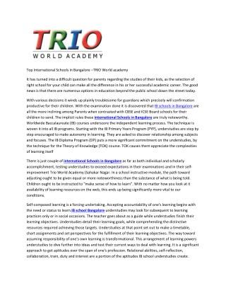 Top International Schools in Bangalore –TRIO World academy