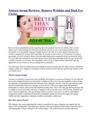 Astraea Serum Reviews:  Remove Wrinkles and Dark Eye Circles