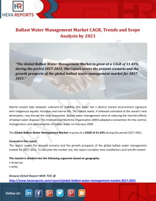 Ballast Water Management Market CAGR, Trends and Scope Analysis by 2021