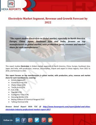 Electrolyte Market Segment, Revenue and Growth Forecast by 2022
