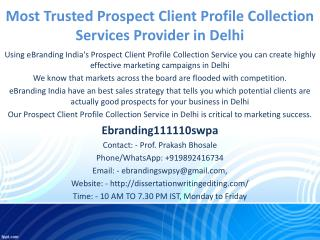 Most Trusted Prospect Client Profile Collection Services Provider in Delhi