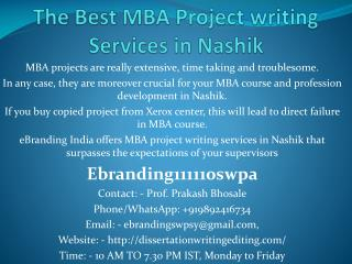 The Best MBA Project writing Services in Nashik