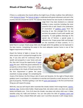 Rituals of Diwali Pooja - www.elitehandicrafts.com/occasions/diwali.php