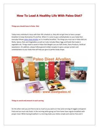 Paleo Dieet Afvallen Recepten - Dieet Paleo