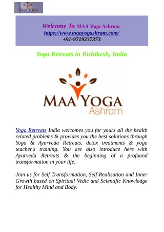 Yoga & Ayurveda Retreats In Rishikesh, India
