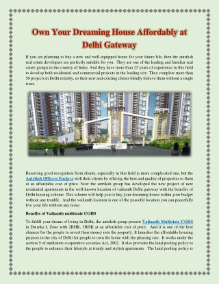 Own Your Dreaming House Affordably at Delhi Gateway