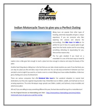 Indian Motorcycle Tours to give you a Perfect Outing