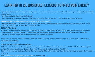 Learn How to use QuickBooks File Doctor to Fix Network Error?