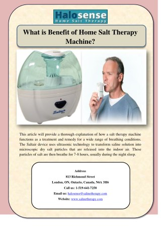 What is Benefit of Home Salt Therapy Machine?