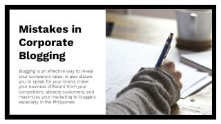 Mistakes in Corporate Blogging