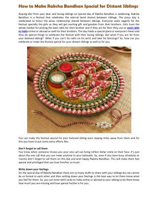 How to Make Raksha Bandhan Special for Distant Siblings.