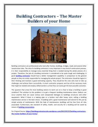 Building Contractors – The Master Builders of your Home