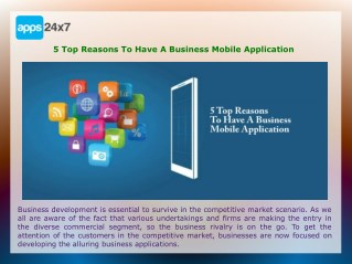 5 Top Reasons To Have A Business Mobile Application