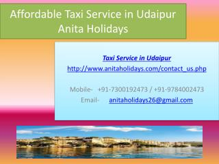 Affordable Taxi Service in Udaipur