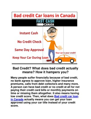 Bad credit Car loans in Canada