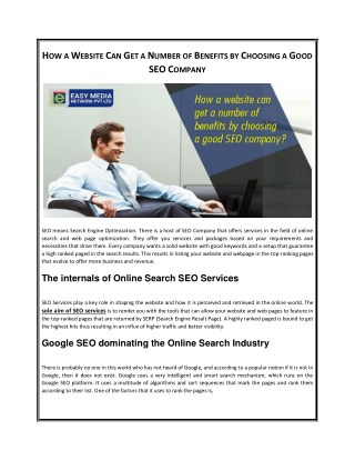 How a Website Can Get a Number of Benefits by Choosing a Good SEO Company