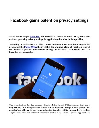 Facebook gains patent on privacy settings