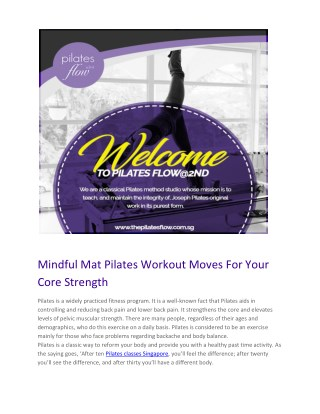 Mindful Mat Pilates Workout Moves For Your Core Strength