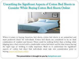 Unearthing the Significant Aspects of Cotton Bed Sheets to Consider While Buying Cotton Bed Sheets Online