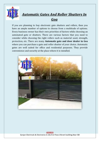 Automatic Gates And Roller Shutters In Goa