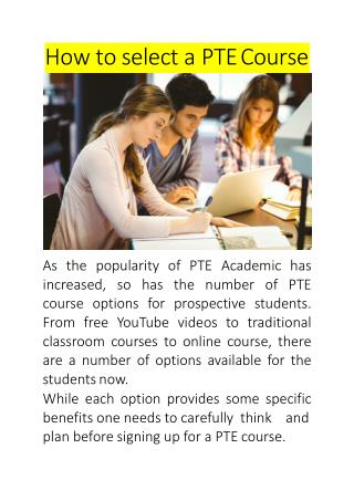 How to select a PTE Course