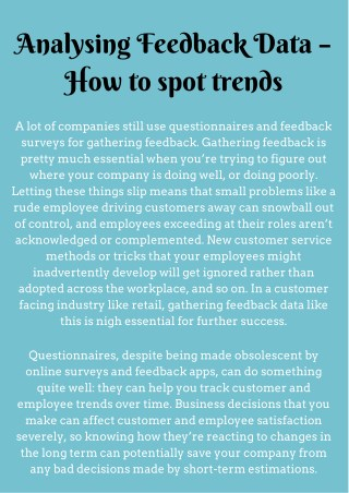 Understanding what my customers think - Soft Intelligence