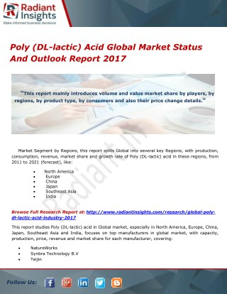 Poly (DL-lactic) Acid Global Market Status And Outlook Report 2017