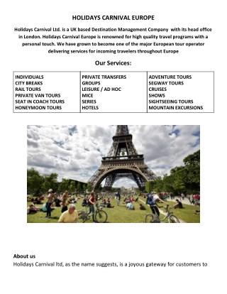 Holidays Package for Europe, UK, Paris DMC Destination Management