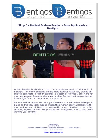 Shop for Hottest Fashion Products from Top Brands at Bentigos!