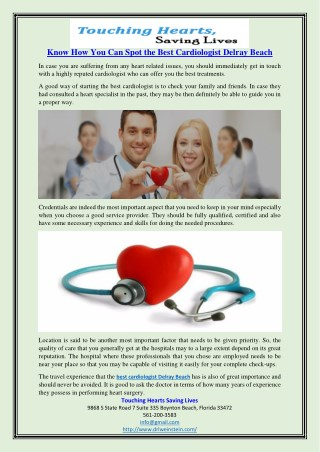 Know How You Can Spot the Best Cardiologist Delray Beach