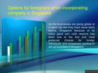Options for foreigners when incorporating company in Singapore
