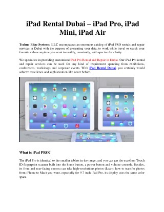 iPad Rental Dubai - iPad Pro, iPad Mini, iPad Air-Techno Edge Systems, LLC