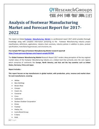 Analysis of Footwear Manufacturing Market and Forecast Report for 2017-2022
