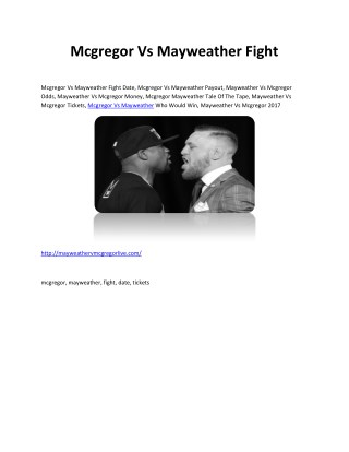 Mcgregor Vs Mayweather Fight Date