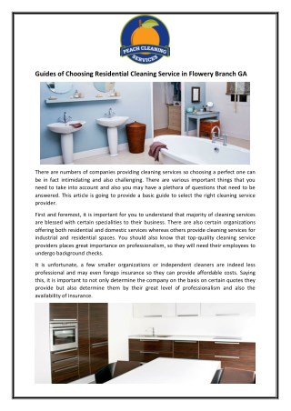 Guides of Choosing Residential Cleaning Service in Flowery Branch GA