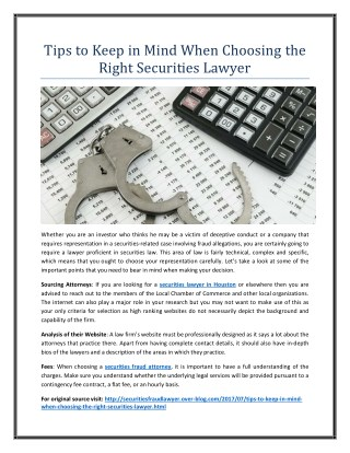 Tips to Keep in Mind When Choosing the Right Securities Lawyer