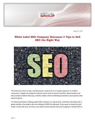 White Label SEO Company Discusses 3 Tips to Sell SEO the Right Way