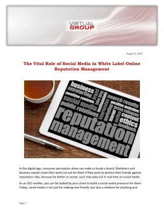 The Vital Role of Social Media in White Label Online Reputation Management