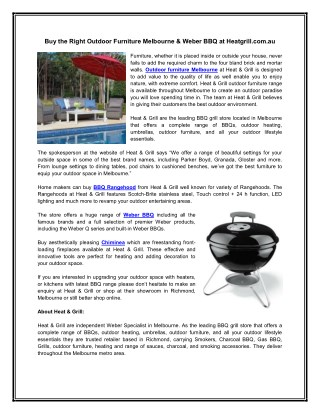 Buy the Right Outdoor Furniture Melbourne & Weber BBQ at Heatgrill.com.au