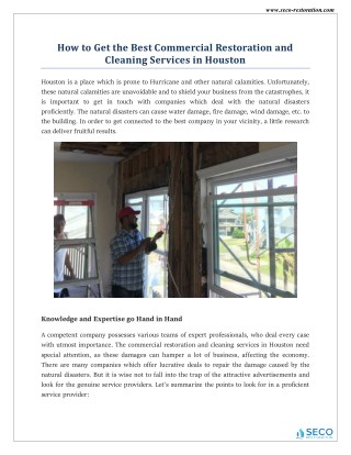 Expert Restoration and Cleaning Services in Houston - Seco Restoration