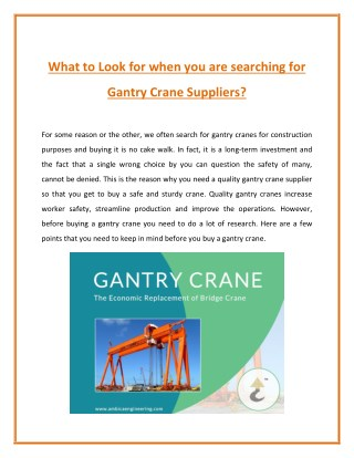 Why You Need A Gantry Crane Supplier?