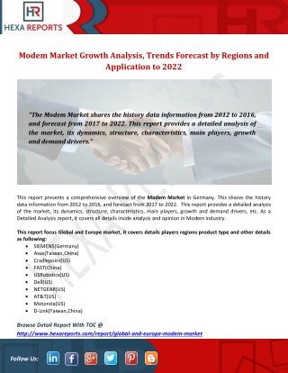 Modem Market Report Provide Growth Driving Factor and Gross Margin Analysis to 2022